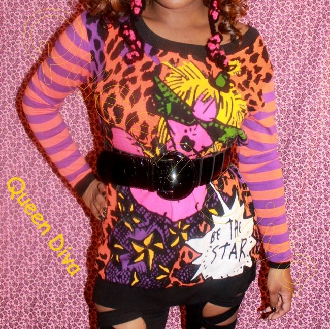 Betsey Johnson Be A Star Leopard Stripe Striped Purple Orange Sweater