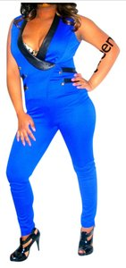 SJP by Sarah Jessica Parker Royal Cobalt Blue Knit Sailor Military Tuxedo Jumpsuit Jumper Romper Playsuit S