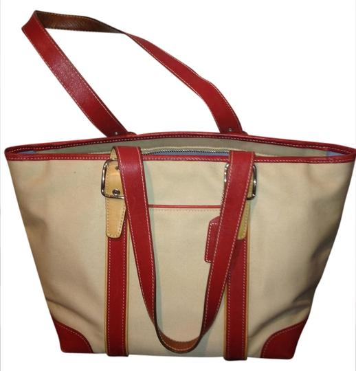 Coach Tote in Red Leather; Beige Canvas