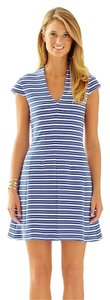 Lilly Pulitzer Bree Fit And Flare Striped V Neck Cap Sleeves Dress
