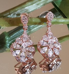 Bridal Rose Gold Cz Earrings