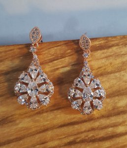 Rose Gold Brilliant Cz Plated Earrings