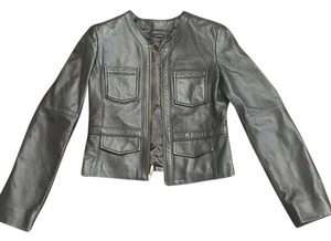 BCBGMAXAZRIA Leather Vintage Moto Detail BLACK Leather Jacket