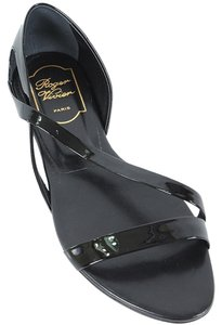 Roger Vivier Patent Patent Leather Cut-out Black Sandals