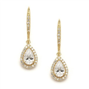 Mariell Gold Pear Shaped Cubic Zirconia Drop Or 4096e Earrings