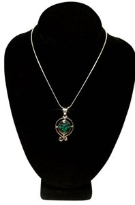 Other Sterling Silver Turquoise Gemstone Pendant Necklace 18 in. N100