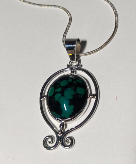 Other Sterling Silver Turquoise Gemstone Pendant Necklace 18 in. A101 Image 2