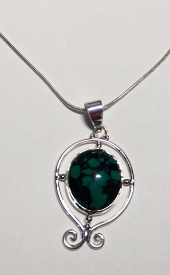 Other Sterling Silver Turquoise Gemstone Pendant Necklace 18 in. A101 Image 3