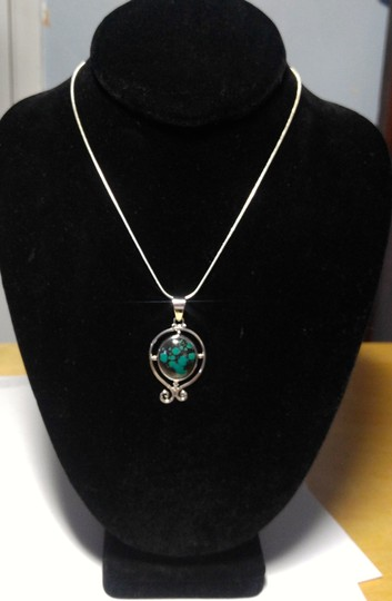 Other Sterling Silver Turquoise Gemstone Pendant Necklace 18 in. A101 Image 4