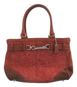 Coach Satchel in Red Tweed