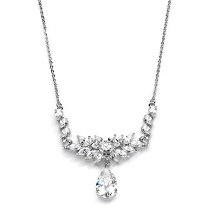 Mariell Cz Teardrop Wedding Necklace With Marquis Fan Top 4266n
