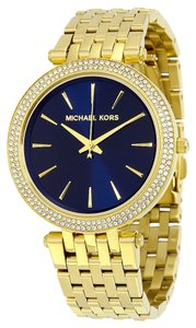 Michael Kors Navy Blue Dial Crystal Pave Gold tone Luxury Ladies Watch