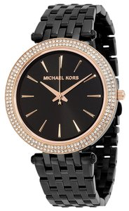 Michael Kors Black Dial and Strap with Crystal Pave Bezel Rose Gold Accent Designer Ladies Watch
