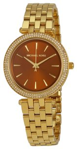 Michael Kors Brown Dial Crystal Pave Gold tone Ladies Bling Watch