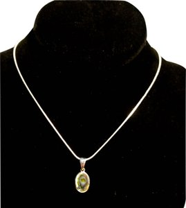 Other Sterling Silver Abalone Shell Pendant Necklace 18 in. A104