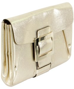 Roger Vivier Metallic Envelope Studded Leather Gold Metallic Clutch