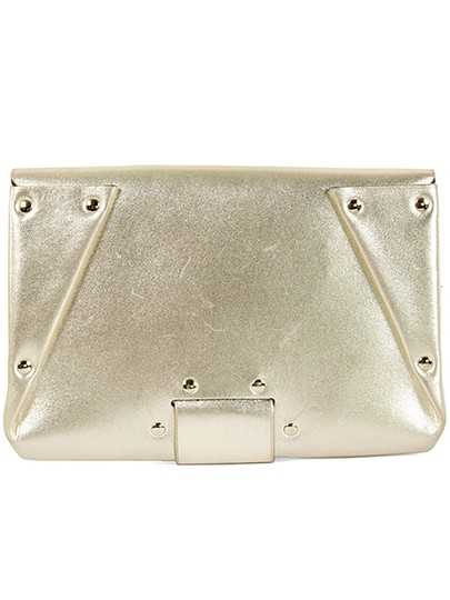 Roger Vivier Envelope Studded Leather Gold Metallic Clutch