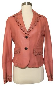 Wilsons Leather Vintage Punched Blazer Leather Pink Leather Jacket