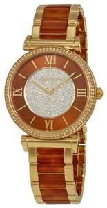 Michael Kors Amber and Crystal Pave Dial Gold Tone Ladies Watch
