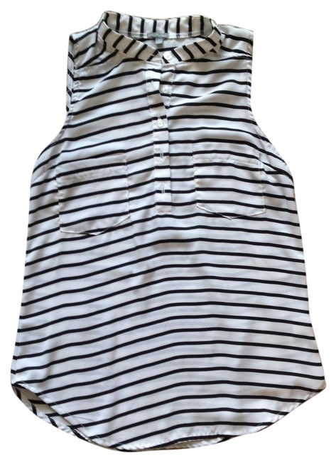 Charlotte Russe Top White with Black Stripes