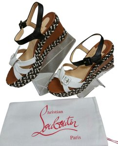 Christian Louboutin Wedge Sandal Stap Rope White Black Tan Wedges