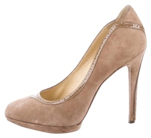 Brian Atwood Imported Monogram Logo brown Pumps
