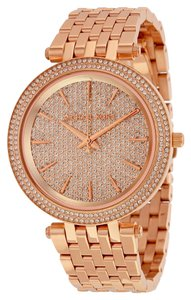 Michael Kors Rose Gold Crystal Pave Dial Designer Luxury Watch
