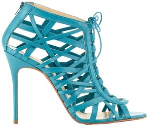 Christian Louboutin Teal Leather Cage Caged Strappy Stiletto Peep Toe Red Sole Sexy New Ankle Strap Pump Laurence Blue Sandals