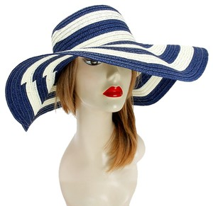 FASHIONISTA Nautical Stripe Navy Blue And White Beach Sun Cruise Summer Large Floppy Hat