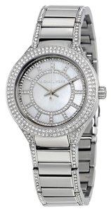 Michael Kors Silver tone Mother of Pearl and Crystal pave Mini Designer Ladies Watch