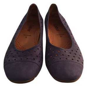 Gabor Perforated Suede Ballerina Blue Flats