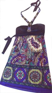 Jodi Kristopher Paisley Halter Dress