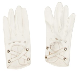 Chanel White leather Chanel interlocking CC logo studs gloves New