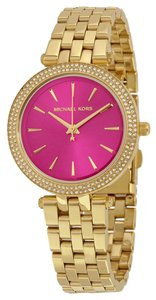 Michael Kors Pink Dial Gold tone Crystal Pave Ladies Designer Watch