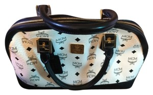 MCM Satchel in White And Navy Blue