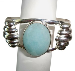 Jade, .925 Sterling Silver / Turquoise Blue color open cuff bracelet