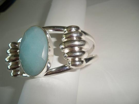 Other Jade, .925 Sterling Silver / Turquoise Blue color open cuff bracelet