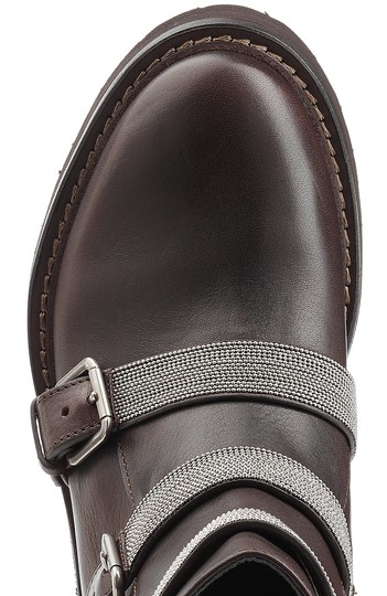 Brunello Cucinelli Ankle Monili Mesh Silver Cool brown Boots