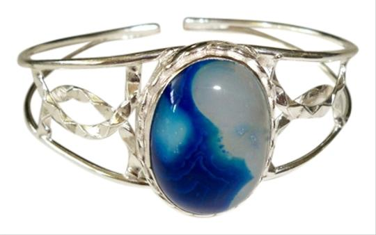 Preload https://item3.tradesy.com/images/blue-white-silver-agate-925-sterling-open-cuff-bracelet-1165567-0-0.jpg?width=440&height=440