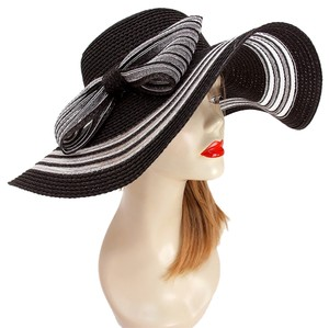 Other FASHIONISTA Nautical Stripe Black And White Bow Accent Beach Sun Cruise Summer Large Floppy Hat