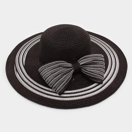 Other FASHIONISTA Nautical Stripe Black And White Bow Accent Beach Sun Cruise Summer Large Floppy Hat Image 1