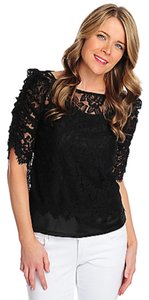 Countess Collection Lace Camisole Keyhole Button Top Black