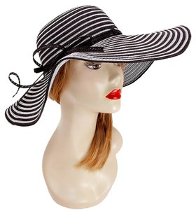 FASHIONISTA Nautical Stripe Black And White Beach Sun Cruise Summer Large Floppy Hat
