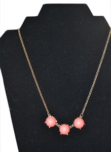 Snuggle Luv Coral Three Stone Bubble Drop necklace