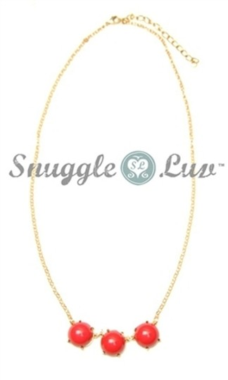 Snuggle Luv Coral Three Stone Bubble Drop necklace Image 2