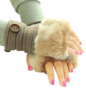 Faux Fur Fingerless Gloves Button Accent Free Shipping