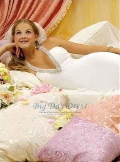 Winnie Couture White Chiffon Destination Wedding Dress Size 6 (S)