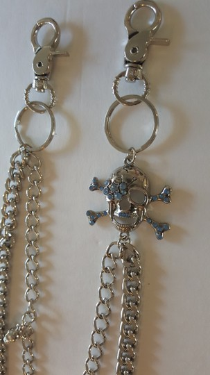 Other blue Rhinestone Skull Jean Chain Image 2