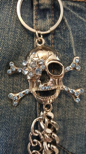 Other blue Rhinestone Skull Jean Chain Image 3