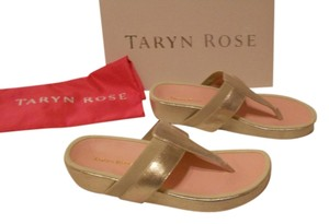 Taryn Rose August Wash Finish Contoured Footbed Gold Sandals